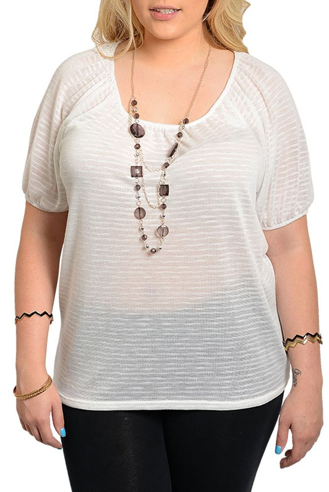 DHStyles Women's [HOT SELLER] Ivory Plus Size Sexy Sheer Knit Flowy Dressy Top with Necklace #sexytops #clubclothes #sexydresses #fashionablesexydress #sexyshirts #sexyclothes #cocktaildresses #clubwear #cheapsexydresses #clubdresses #cheaptops #partytops #partydress #haltertops #cocktaildresses #partydresses #minidress #nightclubclothes #hotfashion #juniorsclothing #cocktaildress #glamclothing #sexytop #womensclothes #clubbingclothes #juniorsclothes #juniorclothes #trendyclothing…