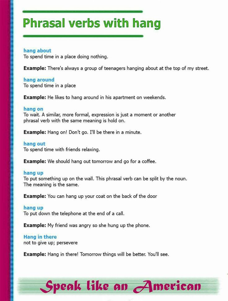 Phrasal verbs with HANG #learnenglish
