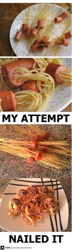 This really gives me the creeps!! LOL!!!  7. The Spaghetti in Hotdog Thing | 31 Horrendous Pinterest Fail Monstrosities