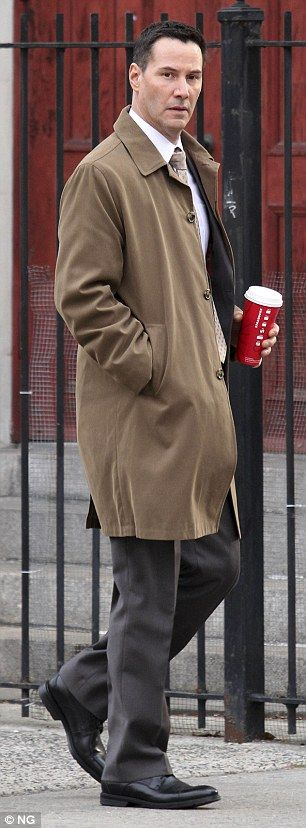 2014 November 7th. Keanu Reeves on the streets of Manhattan, NYC, filming Daughter of God, in which he plays a police detective.