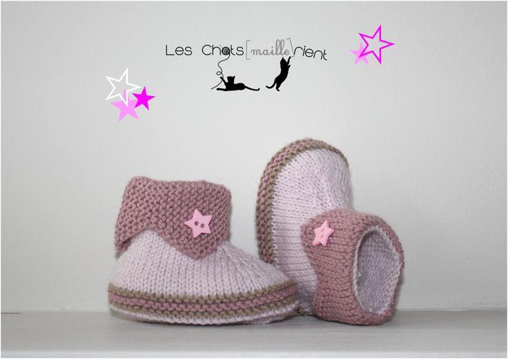 Chaussons, chaussures, bottons bébé tricotés main, rose clair et vieux rose, 0-3 mois / Hand-knitted baby booties : Mode Bébé par les-chatsmaillerient