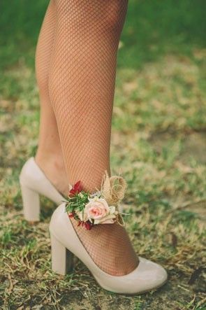 floral ankle corsage | see more fall wedding boutonnieres and corsages here: http://www.mywedding.com/articles/fall-wedding-boutonnieres-and-corsages/