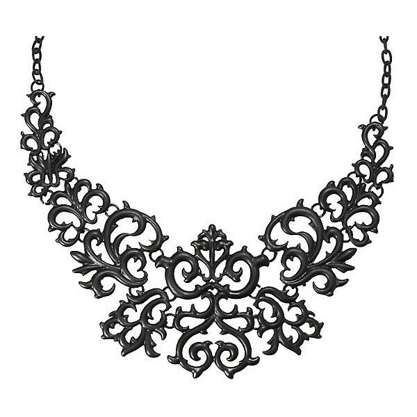 LOVEsick Black Gothic Statement Necklace Hot Topic (170 ZAR) ❤ liked on Polyvore featuring jewelry, necklaces, statement necklace, black necklace, goth jewelry, bib statement necklace and gothic jewelry