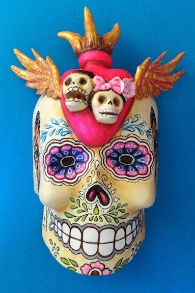 Day of the Dead Paper mache mask by DavidFloresArte on Etsy, $85.00