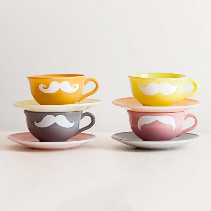 Mustache Tea Set