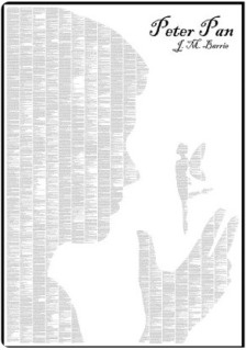 Beautiful image for Peter Pan.  The grey matter are the words of Peter Pan!