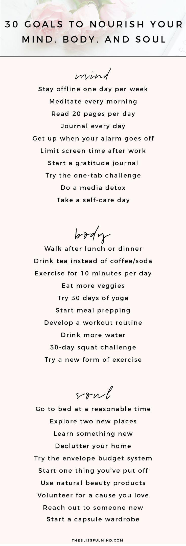 30 Zielideen zur Ernährung von Körper, Geist und Seele