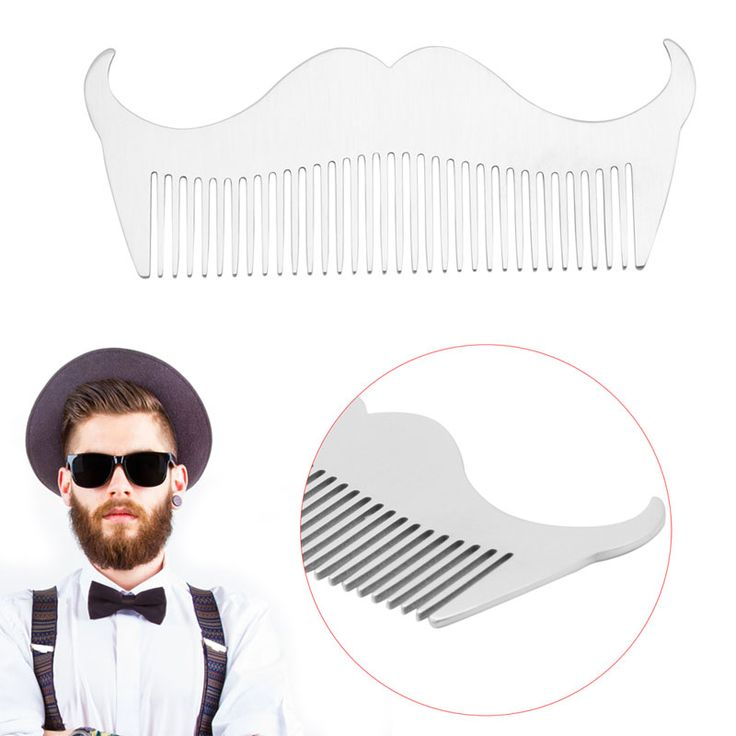 Men Beard Style Stainless Steel Material Handle Grooming Comb