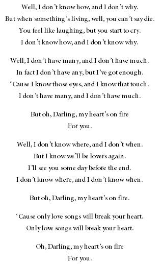 Passenger - Hearts on Fire lyrics