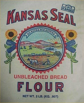 Kansas State Seal Flour Sack..! Id forgotten about this! Wonder if mom still has hers? Made an awesome book bag