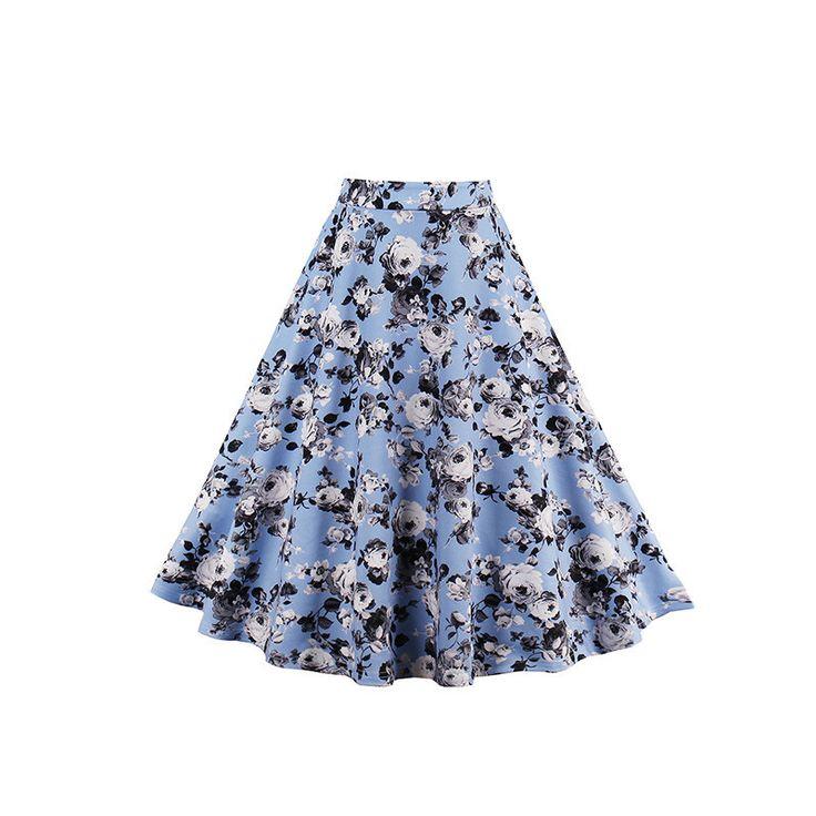 2017 г. женские Повседневная юбка лето свежий синий цветочные короткие нарядные юбки женские элегантные Стиль линии Довольно по колено розовые юбки купить на AliExpress