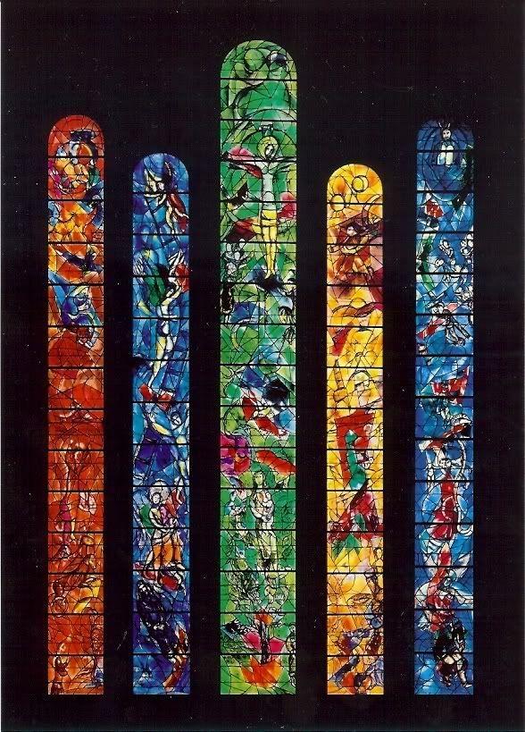 Switzerland -- Zurich - Chagall's Stain Glass Windows in the Fraumunster Cathedral.