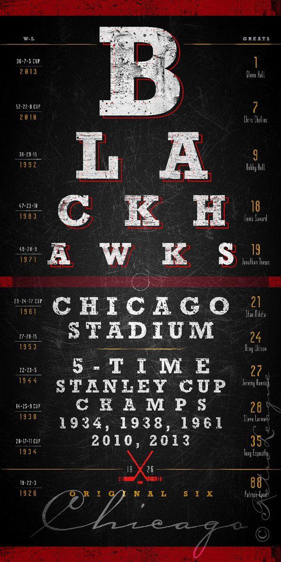 Chicago Blackhawks Eye Chart - Center Ice Series - Free Customization - Perfect Birthday Gift