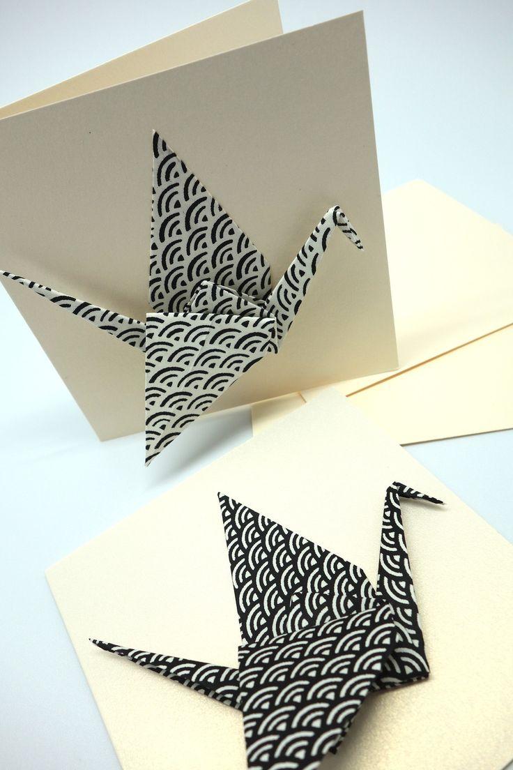 Une carte de voeux double -origami - grue en papier japonais noir et blanc - Meilleurs voeux et bonne année!