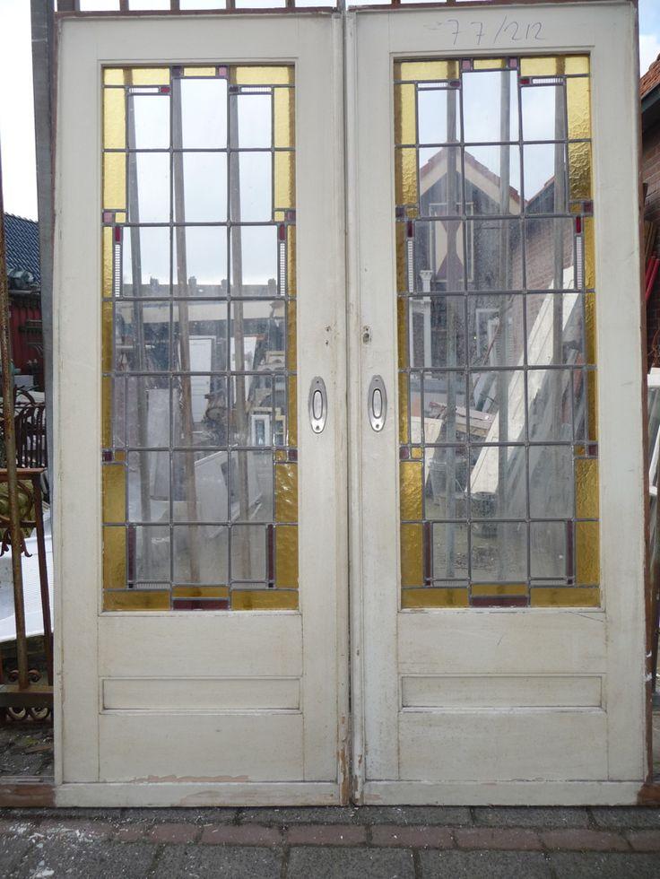 Kamer en suit deuren 100.30.101347 - Leen - Oude bouwmaterialen, 5000 oude deuren, paneeldeuren, kamer en suite schuifdeuren, voordeuren, glas-in-lood deuren, portaaldeuren, ramen, marmeren schouwen, wasbakjes, fonteintjes, balusters, antiek, curiosa