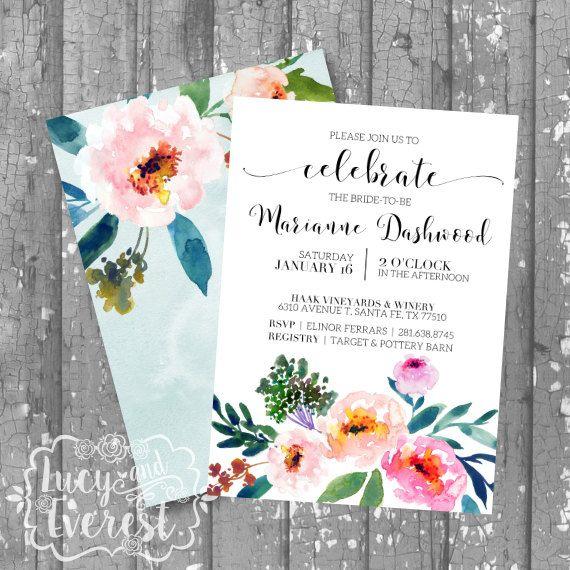 Garden Peonies Bridal Shower Invitation, Shower Invite, Wedding Shower Invitation, Bridal Brunch Invite, Printable Shower Invitation