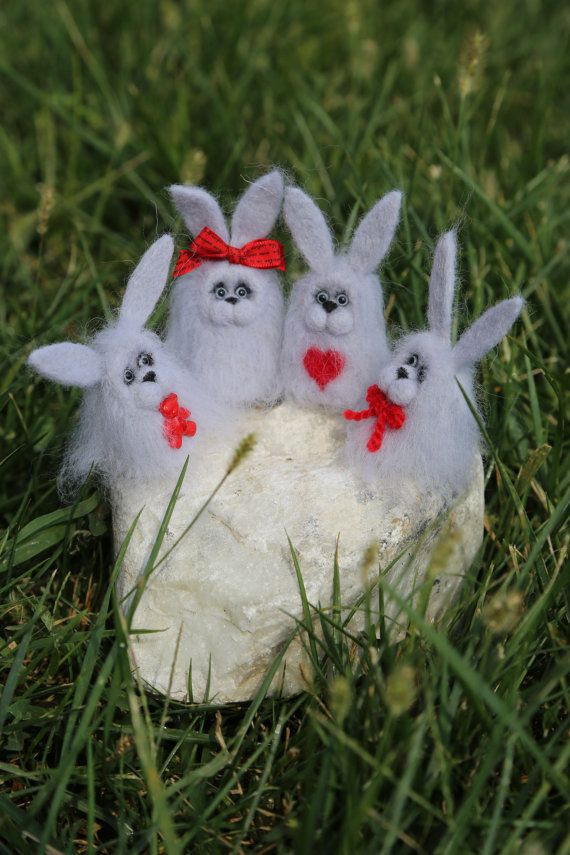Needle felted small fluffy grey bunny collection by donidinadya
