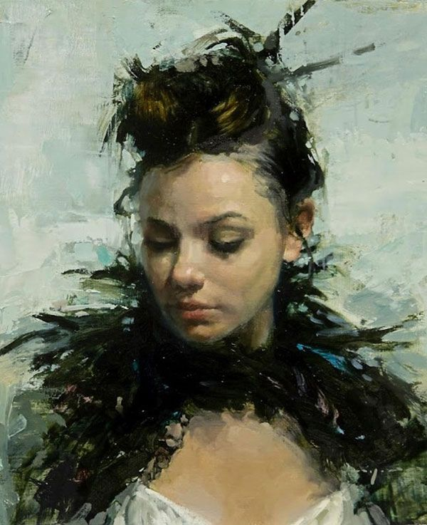 """""""Portrait of Lace and Feathers"""" - Jeremy Mann, 2012 oil on panel {contemporary figurative #impressionist art beautiful female head brunette woman face décolletage cropped portrait grunge painting detail} Reserved!! redrabbit7.com"""