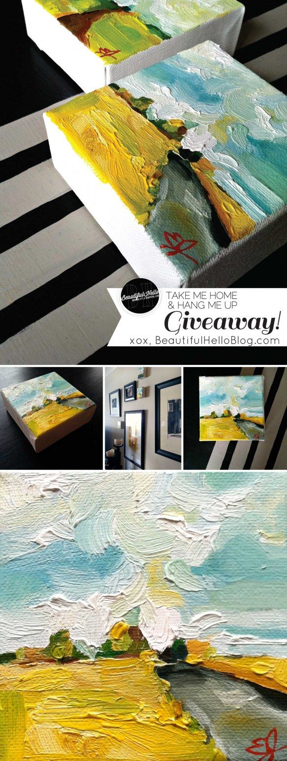 "#Painting #giveaway on www.BeautifulHelloBlog.com  4x4 inch ""Little Fields of Gold"" oil landscape by Emily Jeffords"