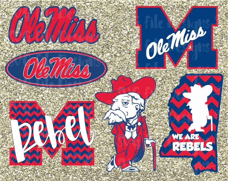University of Mississippi Rebels Ole Miss State Football Logo Cutting File / Clipart Set in Svg Eps Dxf Jpeg for Cricut and Silhouette