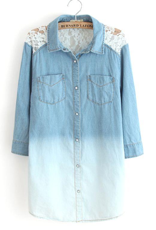 Blue Gradient Long Sleeve Insert Lace Denim Blouse