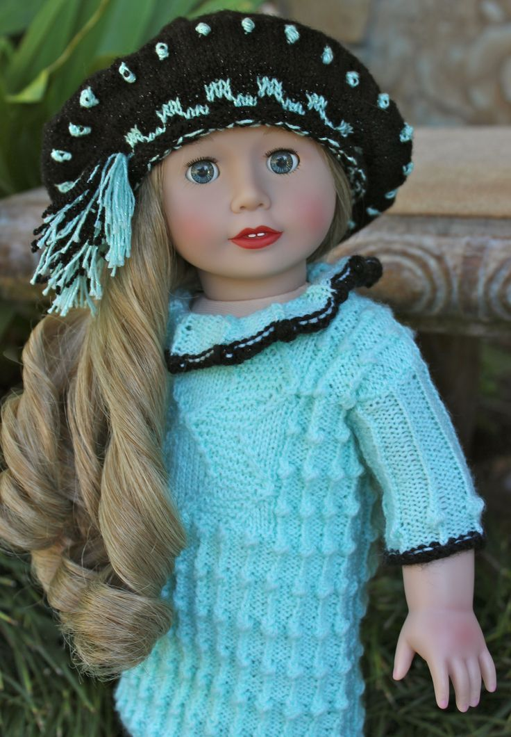 """18"""" Doll by Harmony Club Dolls, Cadeance Rose. One of a kind hand crochet 18"""" doll dress & hat set. Visit our store at www.harmonyclubdolls.com"""