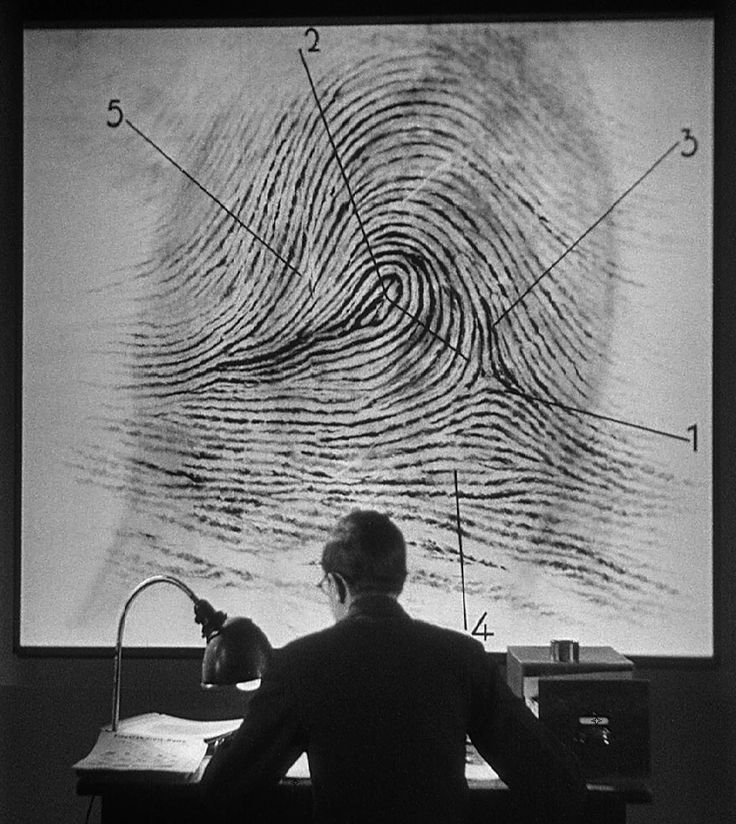1930's state-of-the-art forensic fingerprint analysis via M (1931, dir. Fritz Lang)