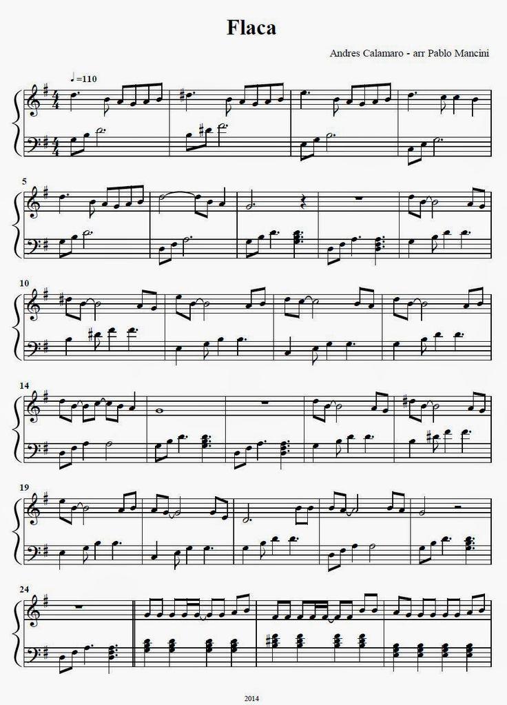 Partitura Piano  Flaca - Andres Calamaro           Descargar PDF aqui