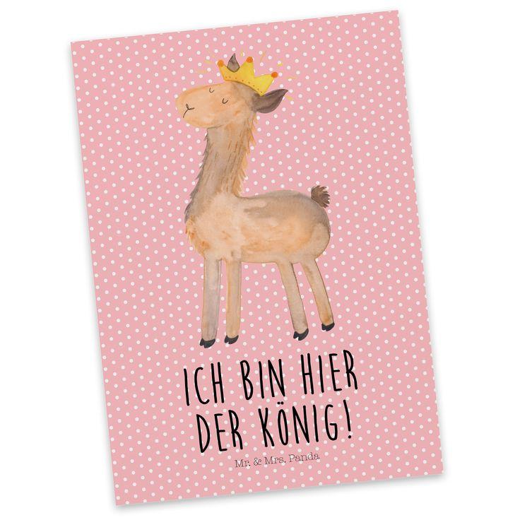 Postkarte Lama König aus Karton 300 Gramm  weiß - Das Original von Mr. & Mrs. Panda.  Jedes wunderschöne Motiv auf unseren Postkarten aus dem Hause Mr. & Mrs. Panda wird mit viel Liebe von Mrs. Panda handgezeichnet und entworfen.  Unsere Postkarten werden mit sehr hochwertigen Tinten gedruckt und sind 40 Jahre UV-Lichtbeständig. Deine Postkarte wird sicher verpackt per Post geliefert.    Über unser Motiv Lama König  Lamas sind für uns bei Mr. & Mrs. Panda die Königstiere und die pure…