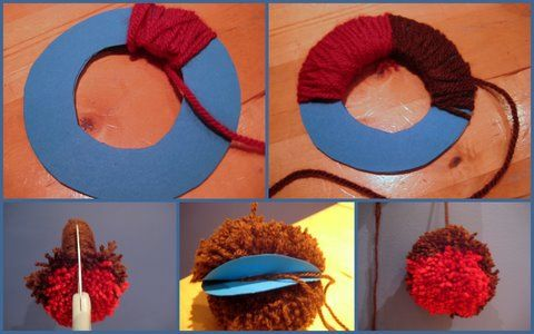 a tutorial showing how to use wool to make a Christmas craft pompom robin