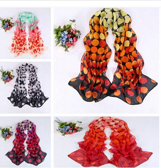 Women Warm Soft Voile Color dot printed scarf Shade is prevented bask in scarves