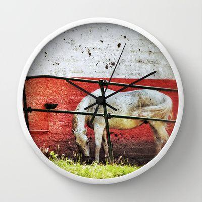 White horse Wall Clock by Silvia Ganora - $30.00