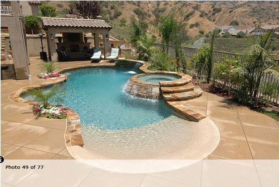 Swimming Pools with beach entry - Site invalid, but I like the jacuzzi