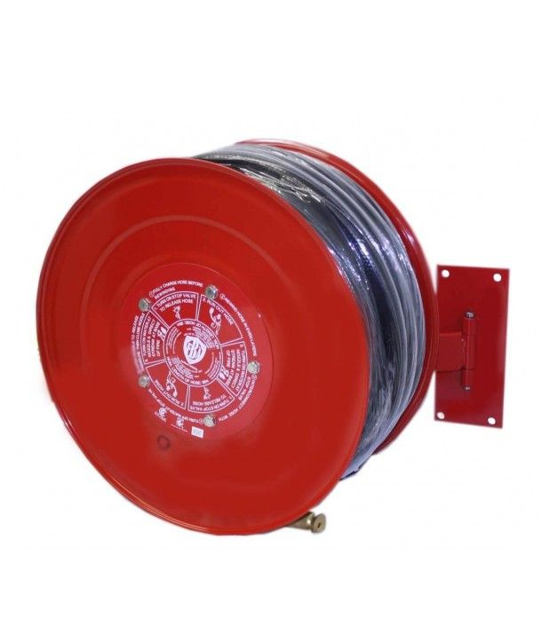 Wall mounted, swing arm fire hose reel. Supplied with: Mounting bracket, inlet pipe, ball valve, hose guide and connection fitting. Buy online, free shipping NZ wide.