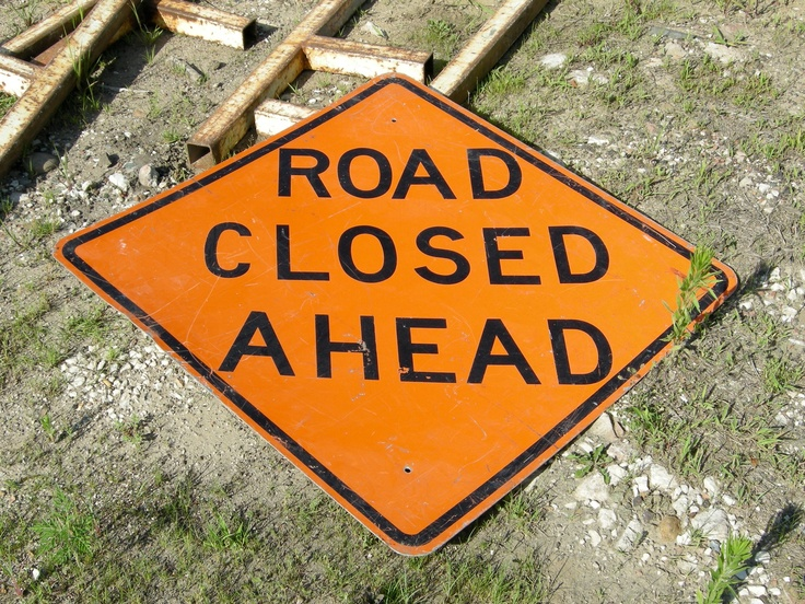 Road Closed Ahead in Quincy, Illinois.