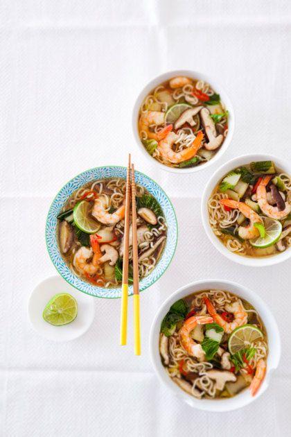 Recept voor noedelsoep met shiitake en garnalen
