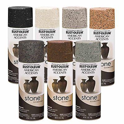 Rust Oleum American Accents Stone Textured Spray Paint Vases Pots Black Granite