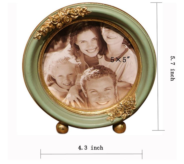 Vintage Picture Frame Green Family Round Photo Frame for Home Decoration