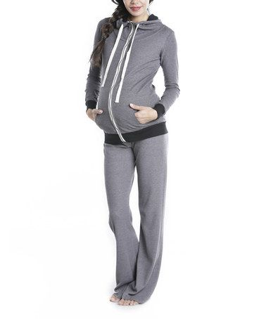 Take a look at this Gunmetal Maternity Zip-Up Hoodie & Sweatpants by Lilac Maternity on #zulily today!