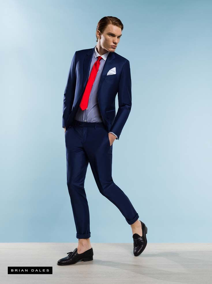 #BRIANDALES #MAN #COLLECTION #SS2016, slim fit dress with striped shirt and red tie.