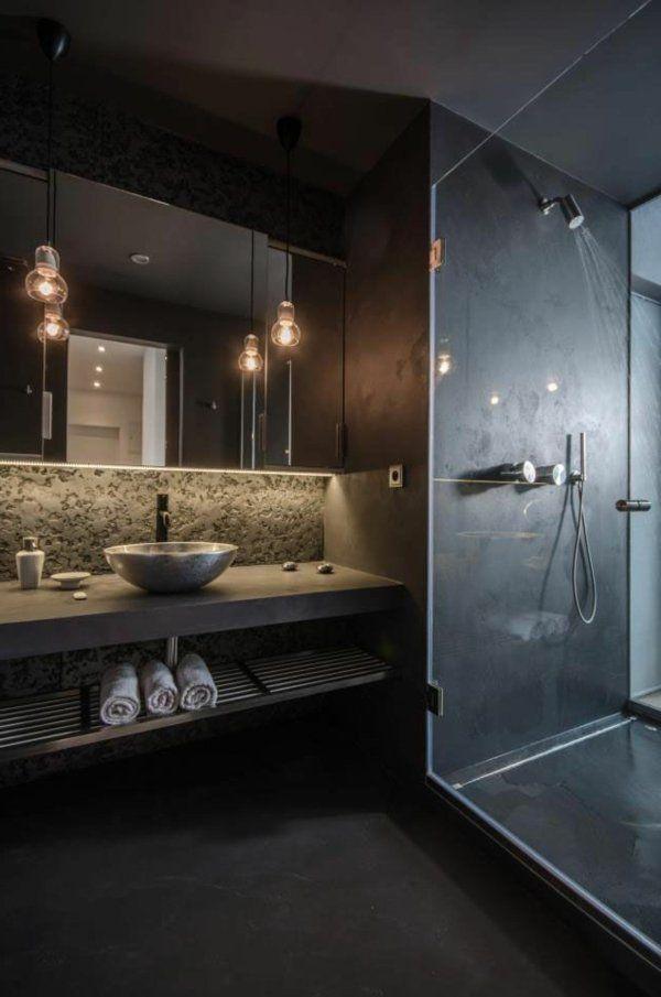 kleines badezimmer schwarze wandgestaltung attraktive beleuchtung dusche