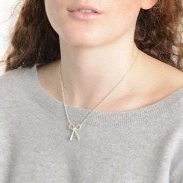 Our super pretty bow necklace shown in silver. STRING BOW NECKLACE - sterling silver £120.