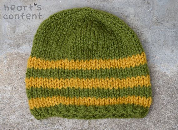 Striped Chunky Knit Hat  Army Green and by HeartsContentByCat. For 30% off use promo code HCPIN201630