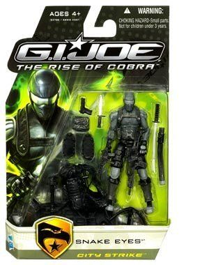"Snake Eyes City Strike Action Figure GI Joe Movie Rise of Cobra by Hasbro. $21.95. Snake Eyes (City Strike) comes with weapons, accessories and a clip & collect character ID card. G.I.Joe: The Rise of Cobra movie 3 3/4"" action figure from Hasbro. For Ages 4 & Up. Snake Eyes City Strike Action Figure GI Joe Movie Rise of Cobra"