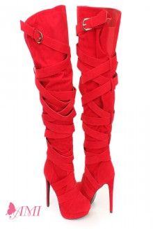 Red Wrap Around Strappy Thigh High Heel Boots Faux Suede