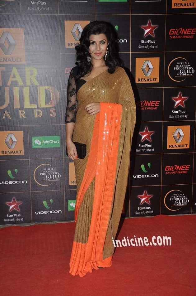 Nimrat Kaur in an Orange & Gold #Saree with Black #Lace #Blouse at Star Guild Awards 2014.