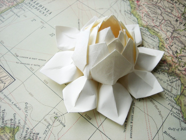 Lotus Flower - Handmade Origami Paper Flower - All Ivory - Winter Wedding, Gift, Table Decoration, Christmas, Holiday Decor. $9.95, via Etsy.
