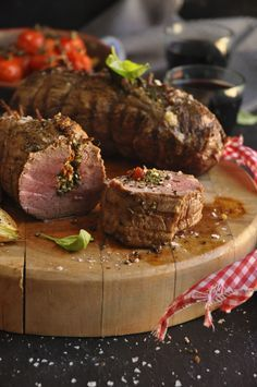 Beef fillet stuffed with sundried tomatoes and feta