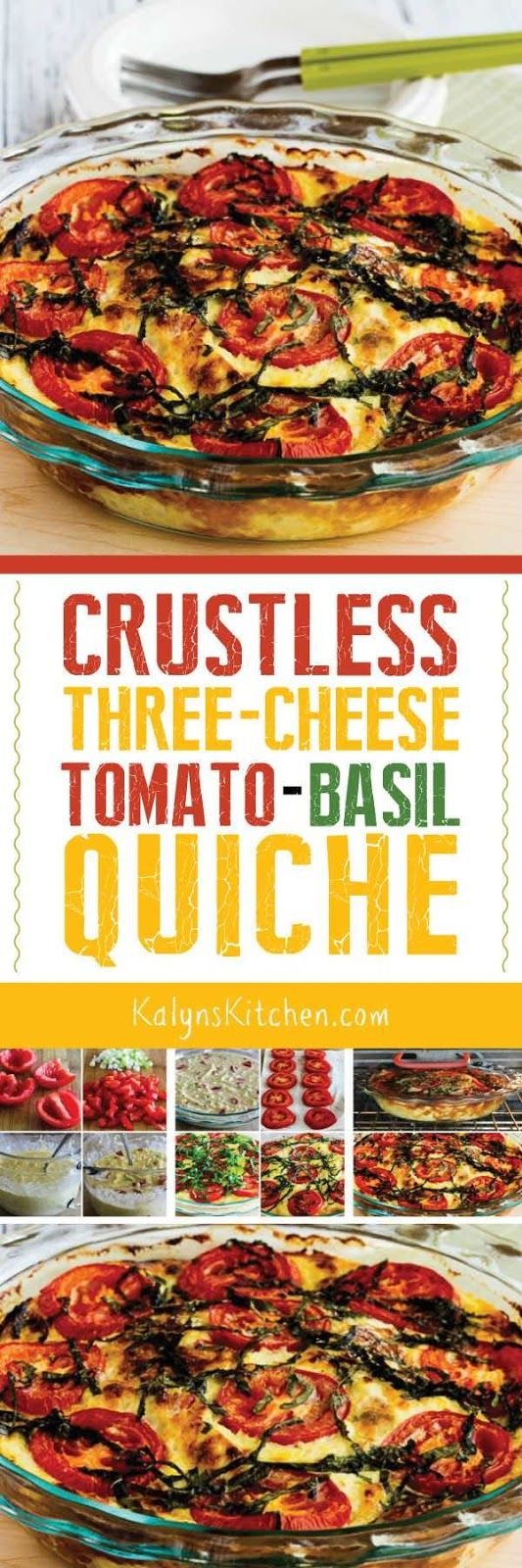 Any time you can get fresh basil, buy some Roma tomaotes and make this Crustless Three-Cheese Tomato-Basil Quiche; this quiche is a great breakfast option for a holiday or special occasionl. And this meatless recipe is also low-carb, low-glycemic, gluten-free, and South Beach Diet friendly. [found on KalynsKitchen.com] #CrustlessQuiche #CrustlessTomatoBasilQuiche #LowCarbQuiche