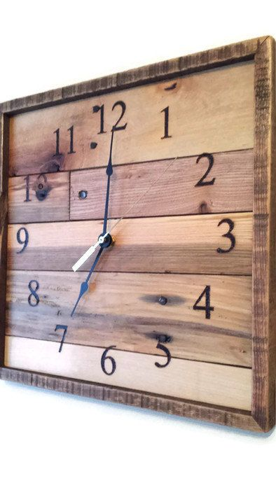 Special Order for Amanda - Square Pallet wood Wall clock, Anniversary clock